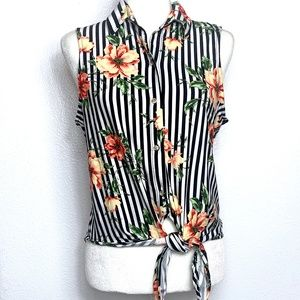 Polly Esther Stripped Floral Tie Sleeveless Blouse